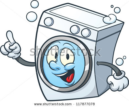 Cartoon washing machine. Vector clip art illustration with simple.