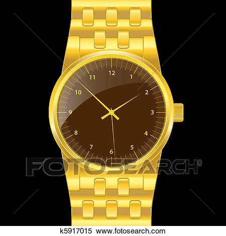 Gold wrist watch Clipart.