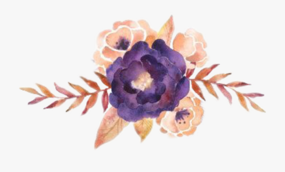 watercolor #flowers #clipart #png #purple #gold #pretty.