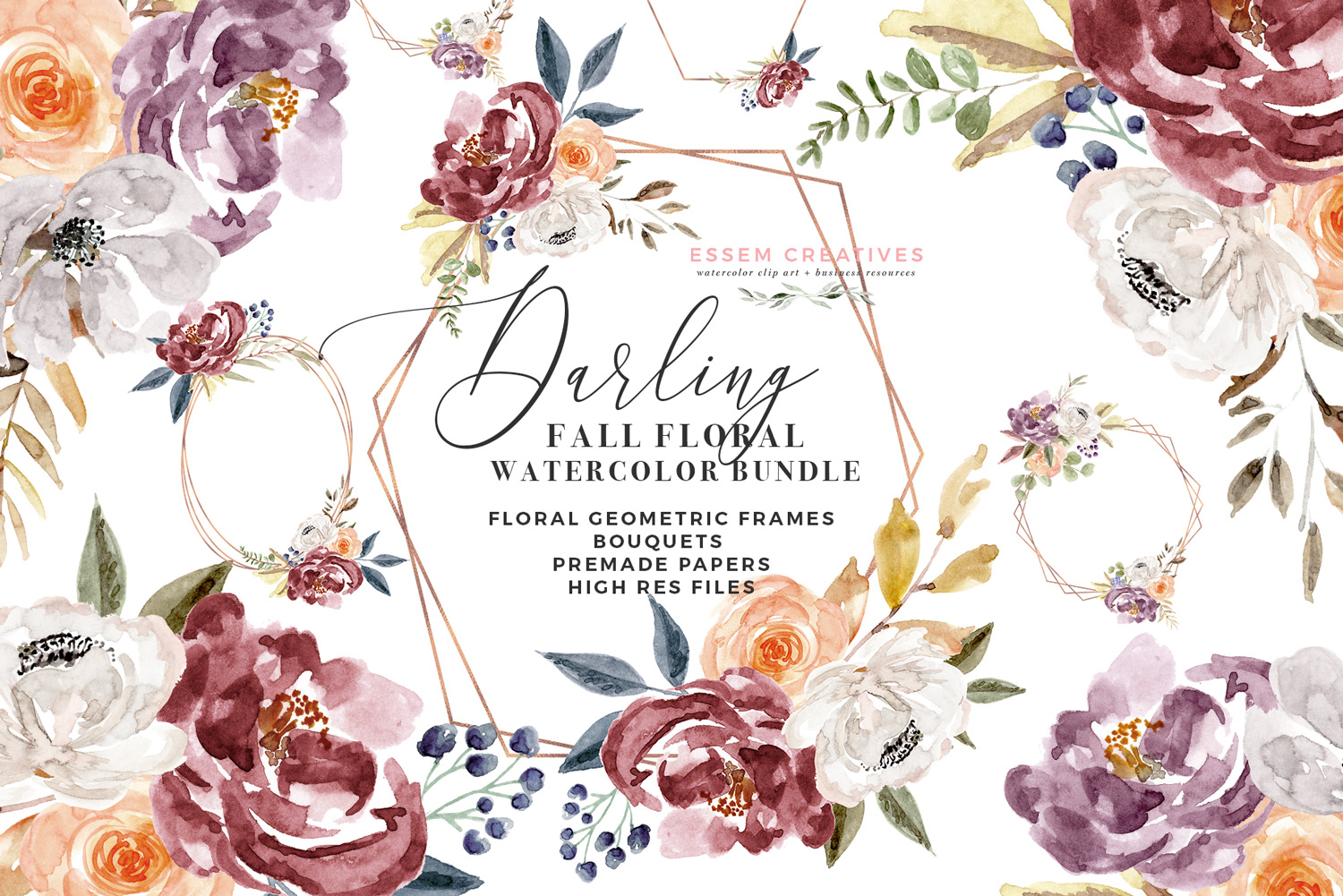 Fall Floral Watercolor Clipart, Burgundy Rose Gold Geometric Floral Frames  Graphics.
