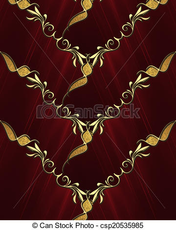 Stock Illustration of Weaving red background with gold trim.