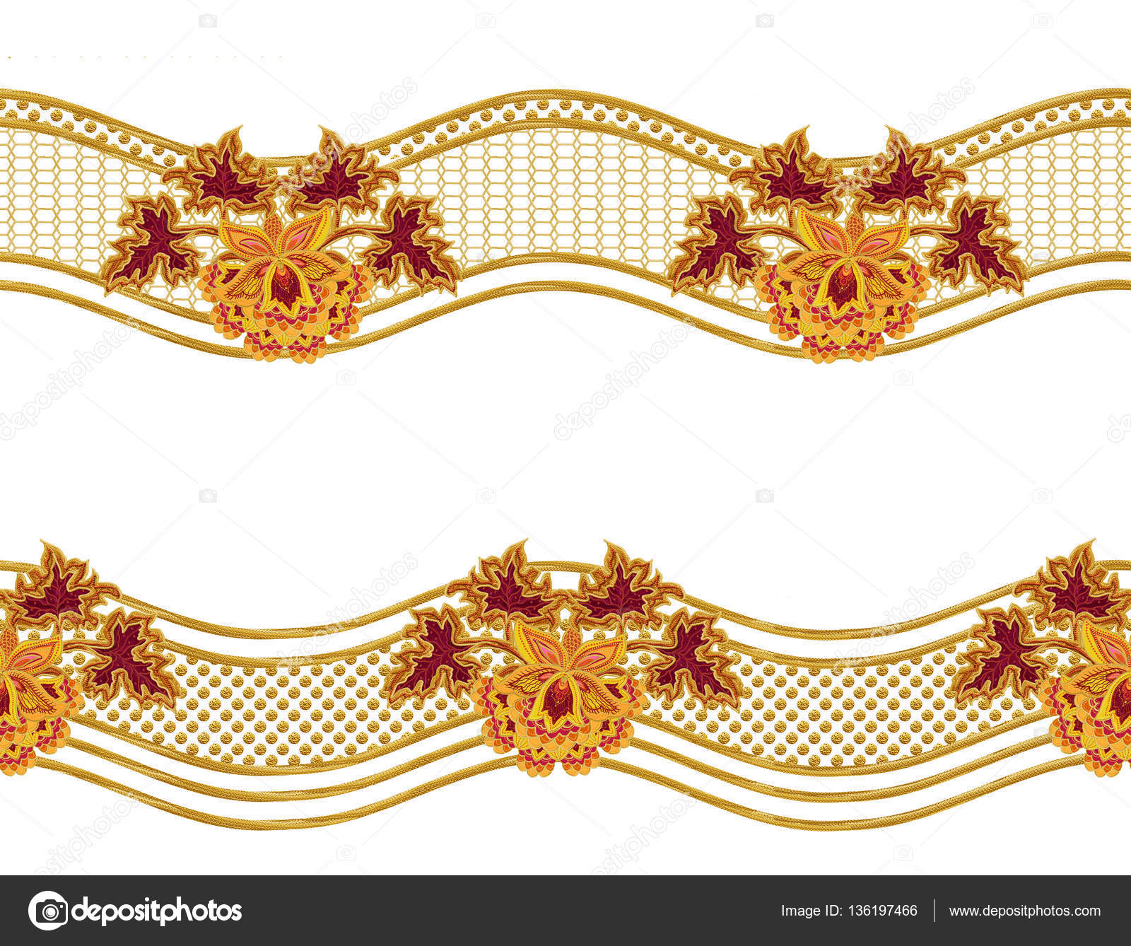 Seamless pattern. Golden textured curls. Oriental style arabesques.