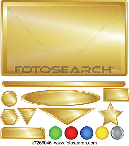 Clip Art of Gold web buttons and bars k7266046.