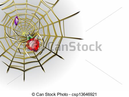 Vector Illustration of Vector white background with jewelry spider.