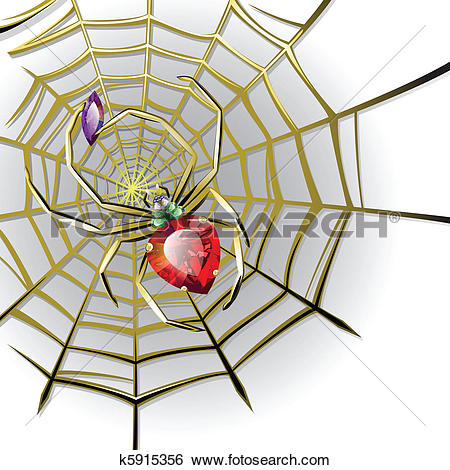 Clip Art of Jewelry spider on the gold web k5915356.