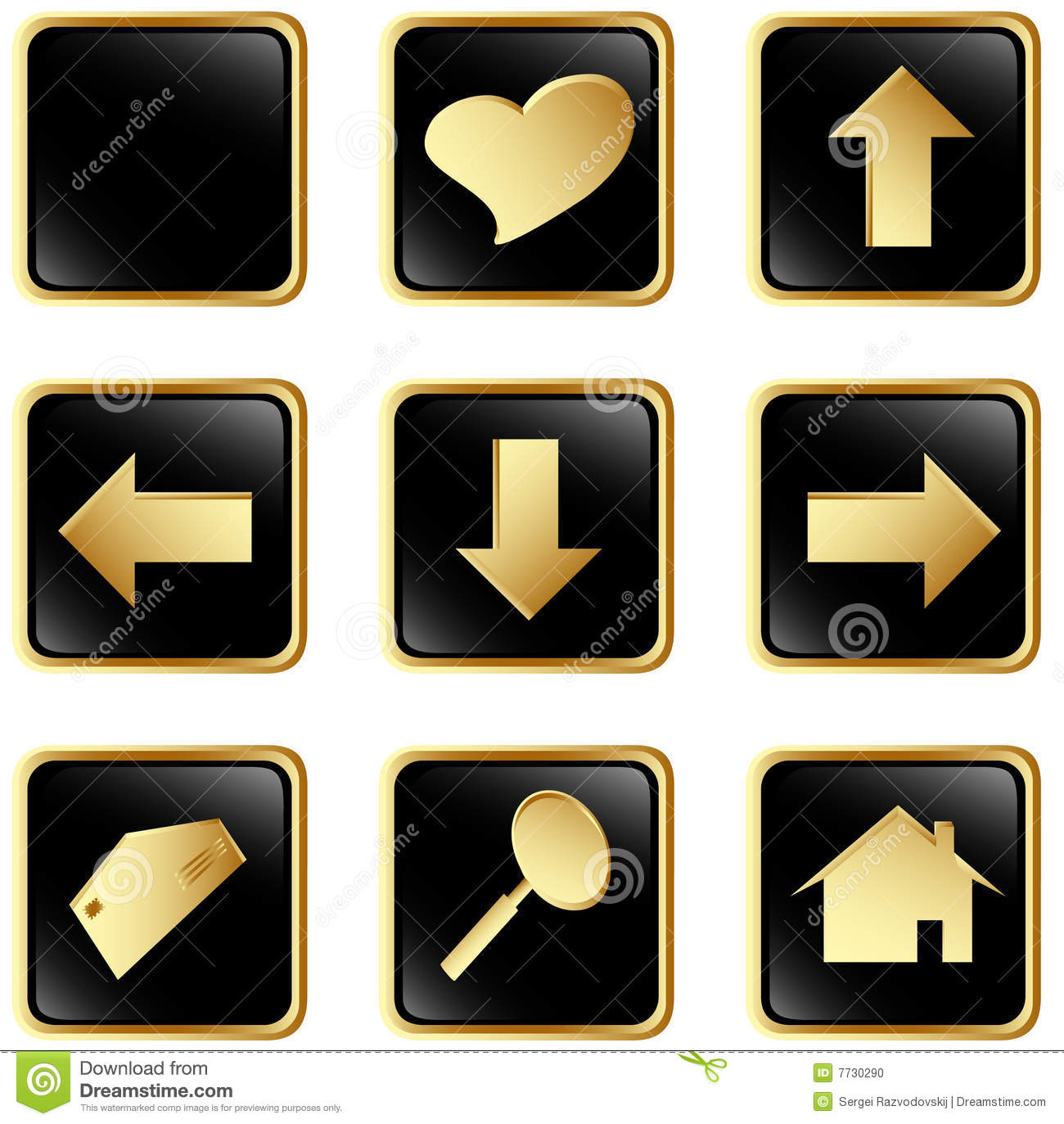 Black Gold Square Web Buttons Stock Photo.