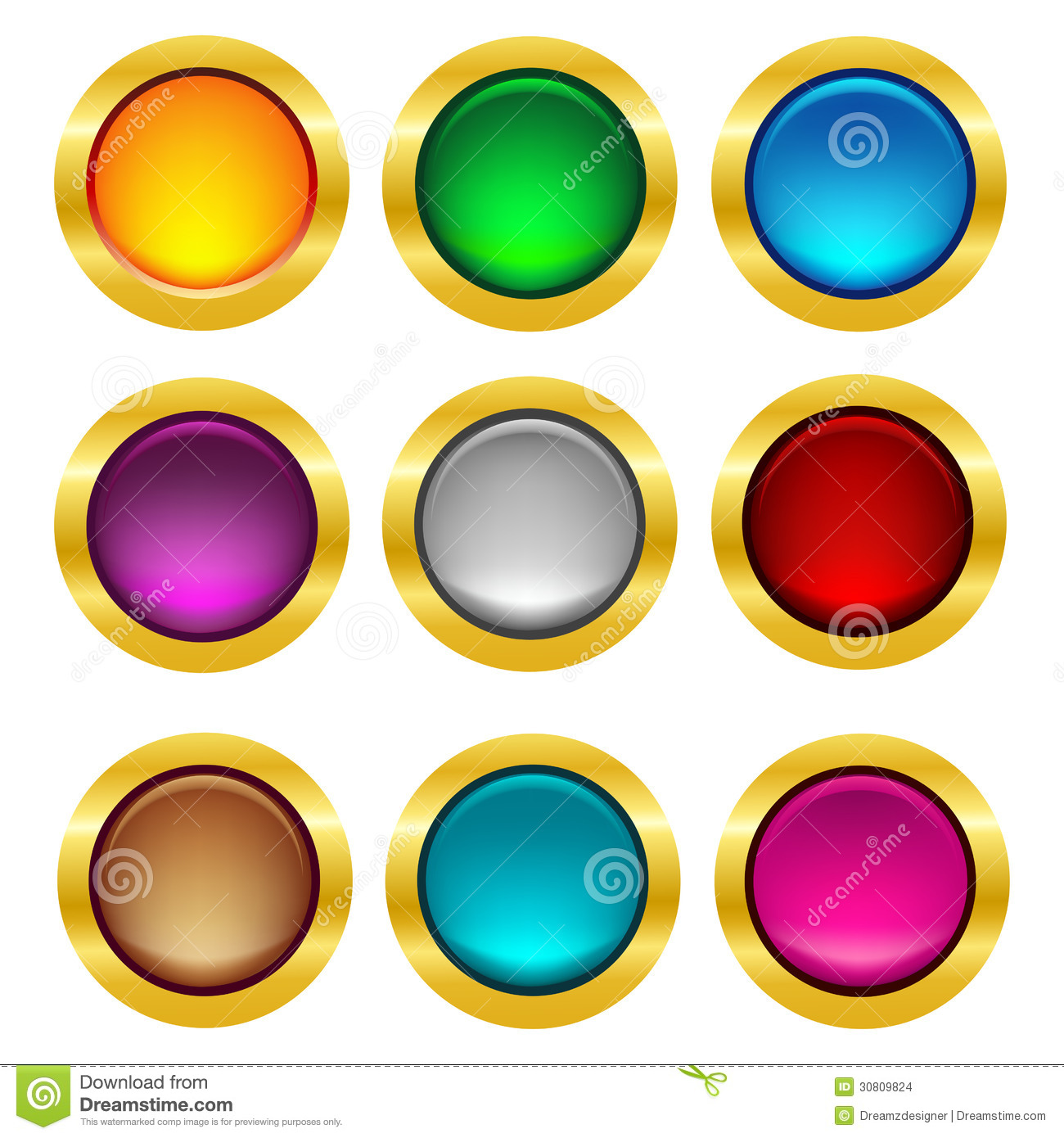 Rounded Web Button With Gold Frame Stock Images.