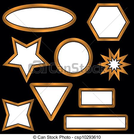 Vector Clip Art of Gold web buttons located on a black background.