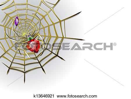 Clipart of Vector white background with jewelry spider on the gold.