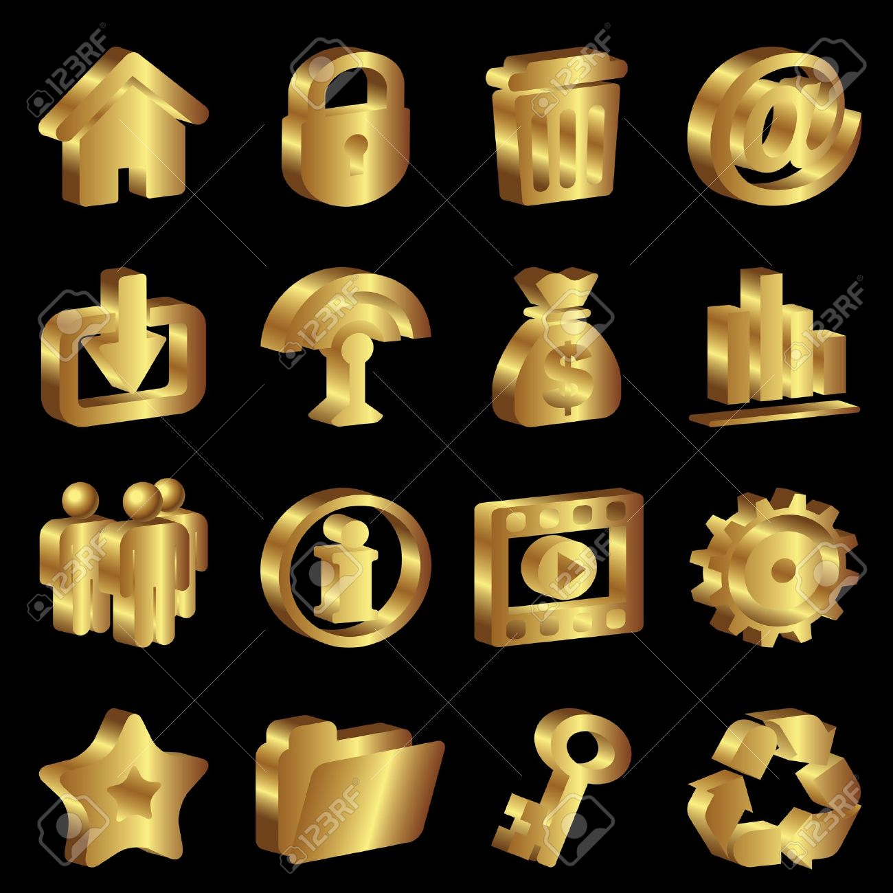 Vector Set Gold Icons For Web Design Royalty Free Cliparts.