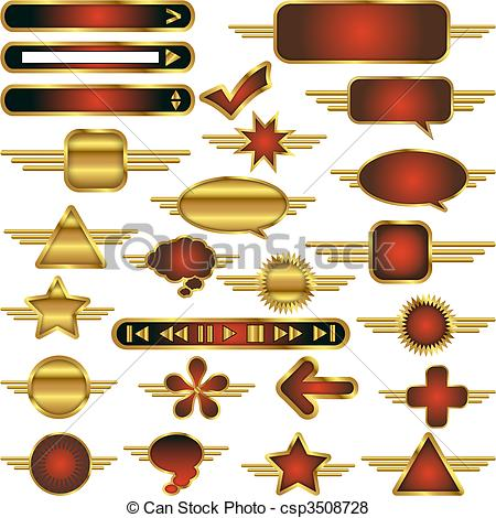 Vector of Vector Web Design Elements Collection with Gold Metal.