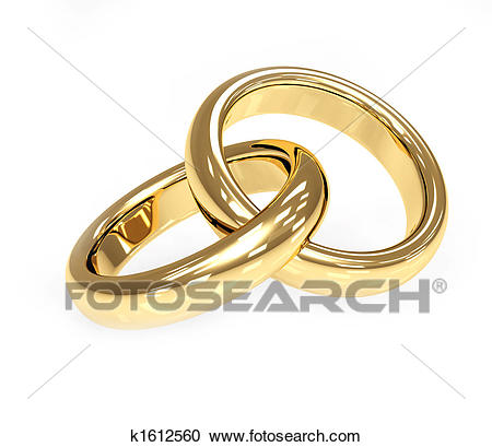 Two 3d gold wedding ring Clipart.