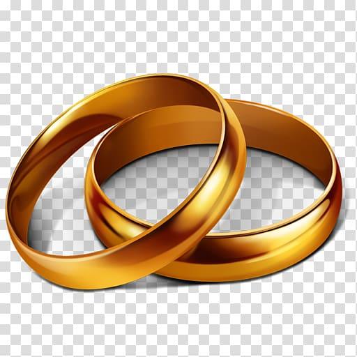 Two gold bridal rings illustration, Wedding ring Engagement ring.