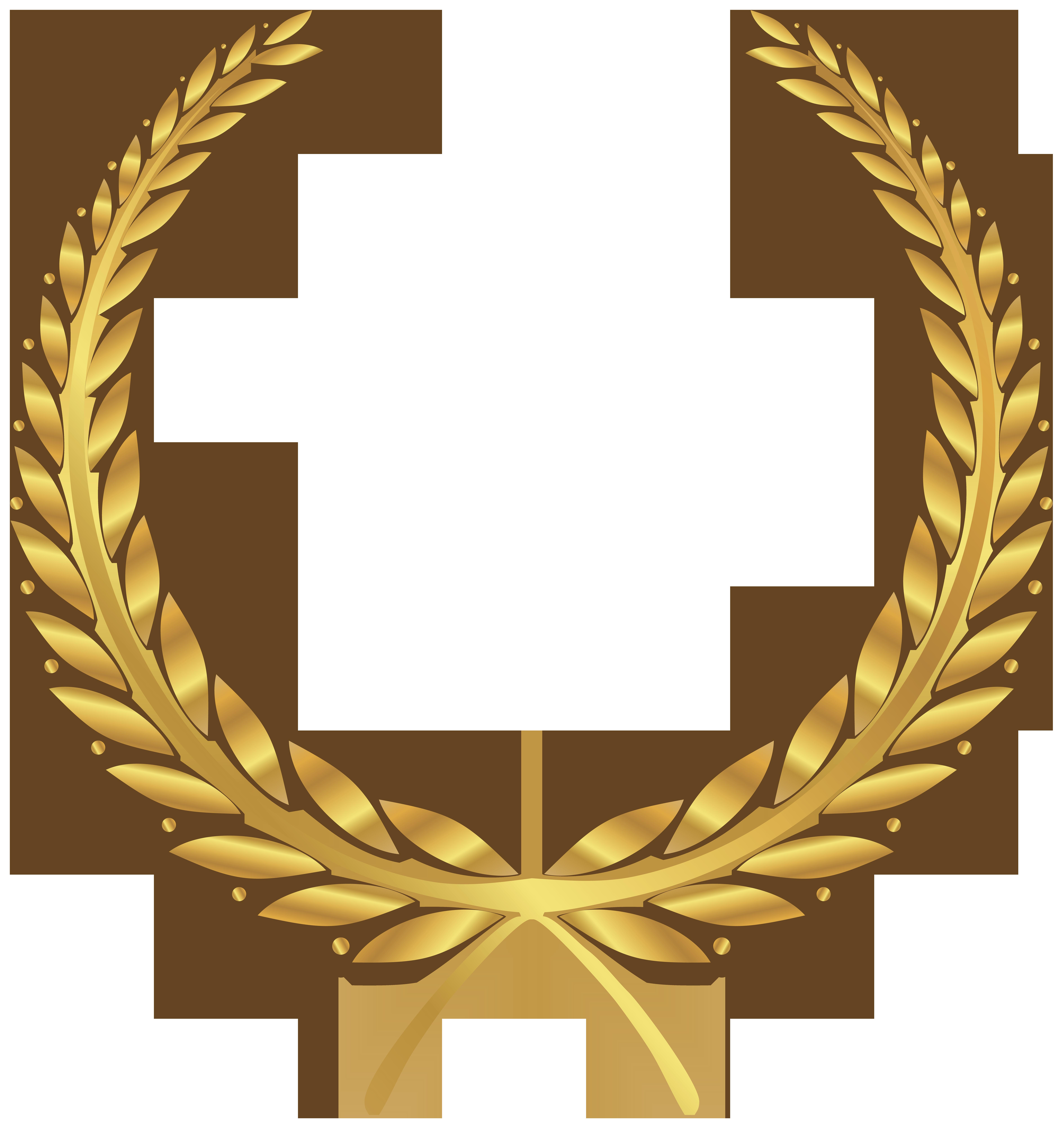 Golden Wreath PNG Clip Art Image.