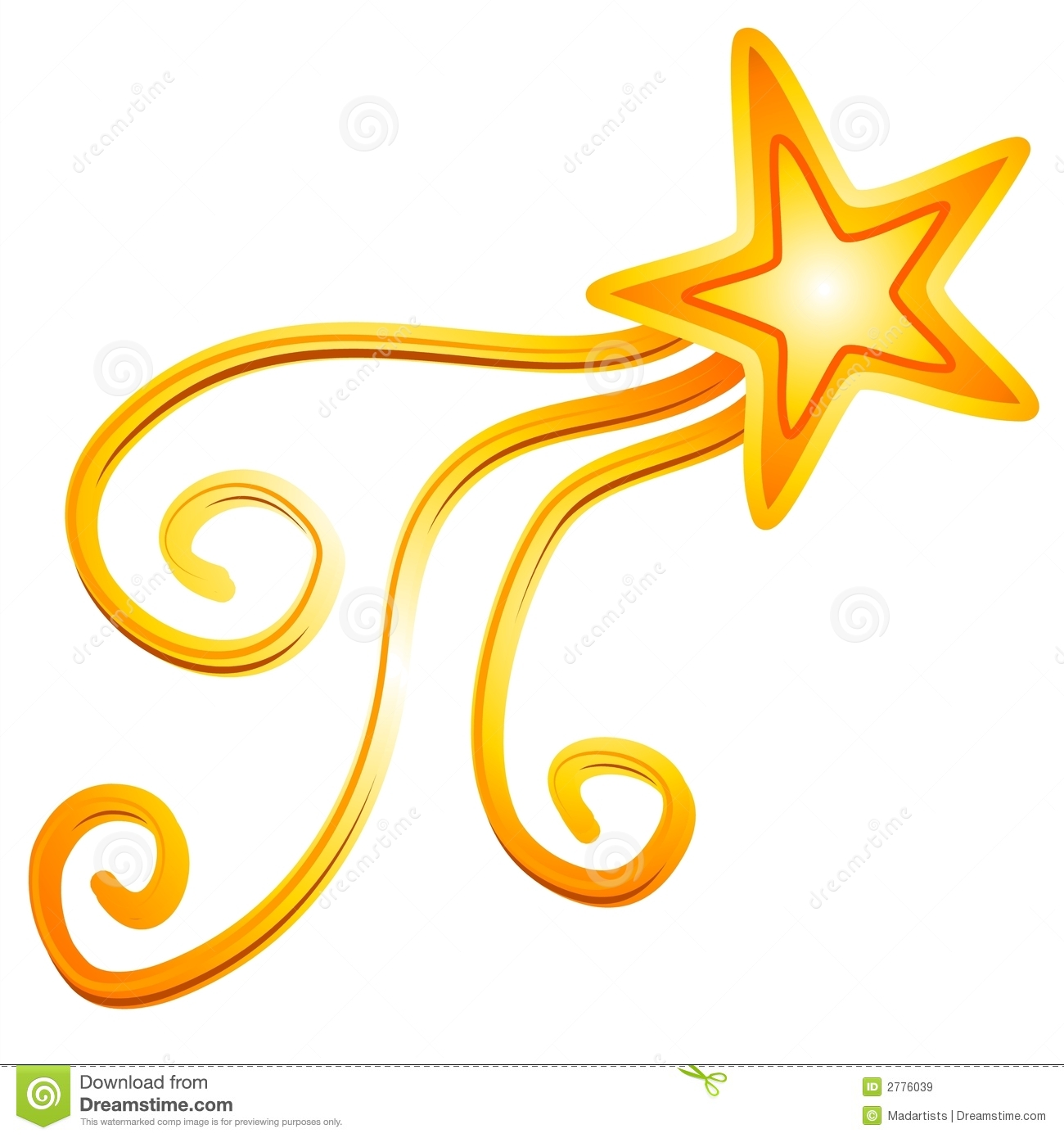 Gold Yellow Shooting Star 2 Royalty Free Stock Images.