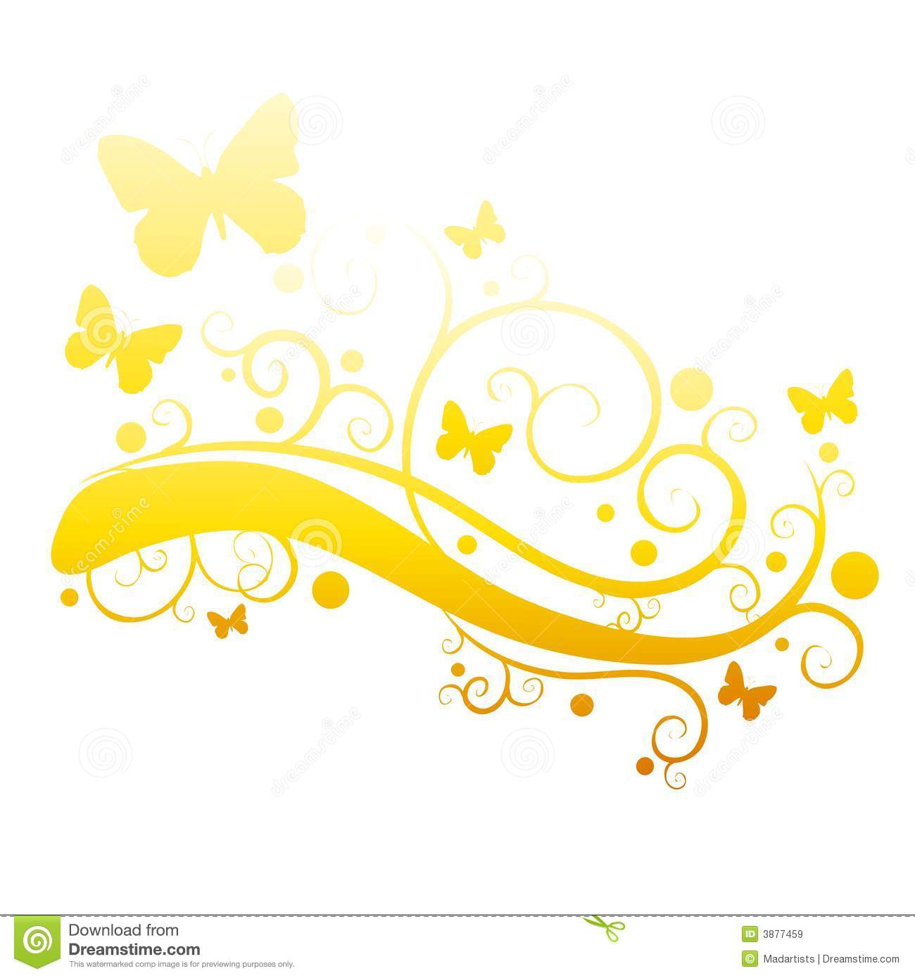 Gold Butterflies In Flower Garden Silhouette Royalty Free Stock.