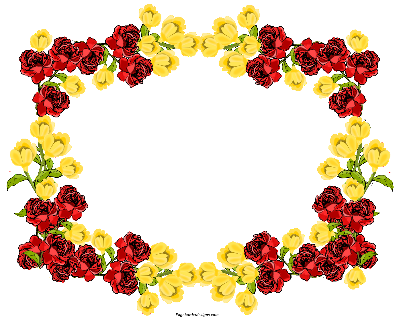 Beautiful Red and yellow Clip Art Flowers Frame Border Design 2014.