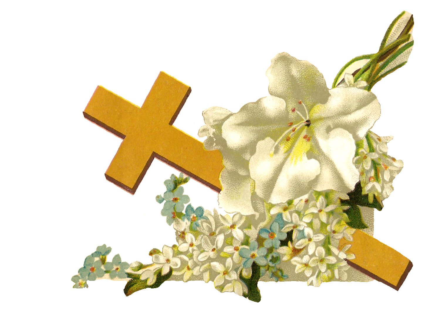 Easter Flower Cross Clipart.