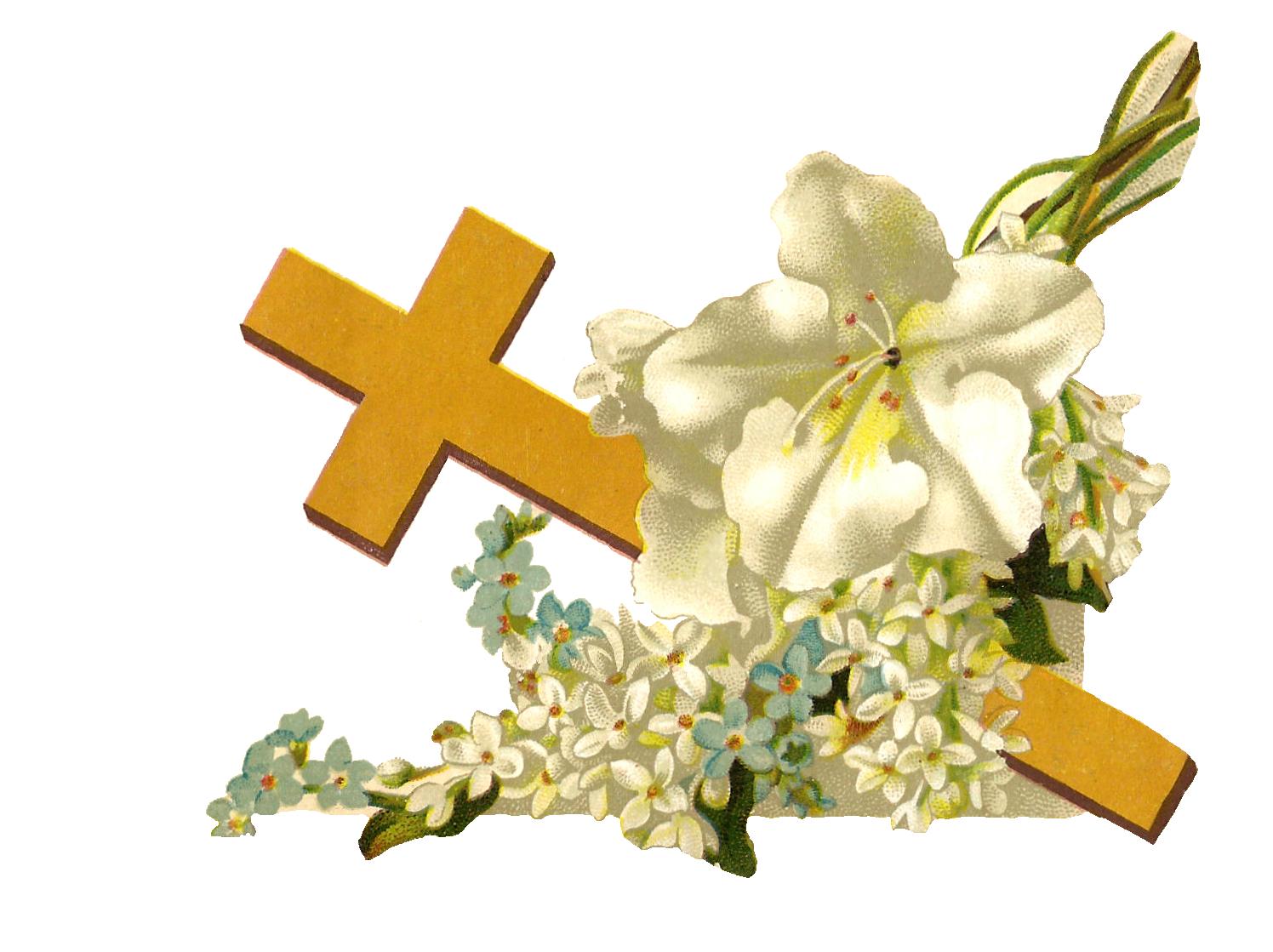 Easter Flower Cross Clipart.