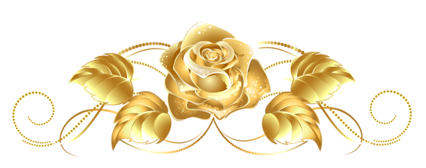 Beautiful Gold Rose Decor PNG Clipart.