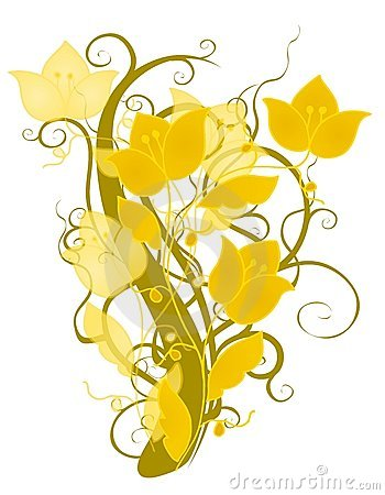 Gold flowers clipart.