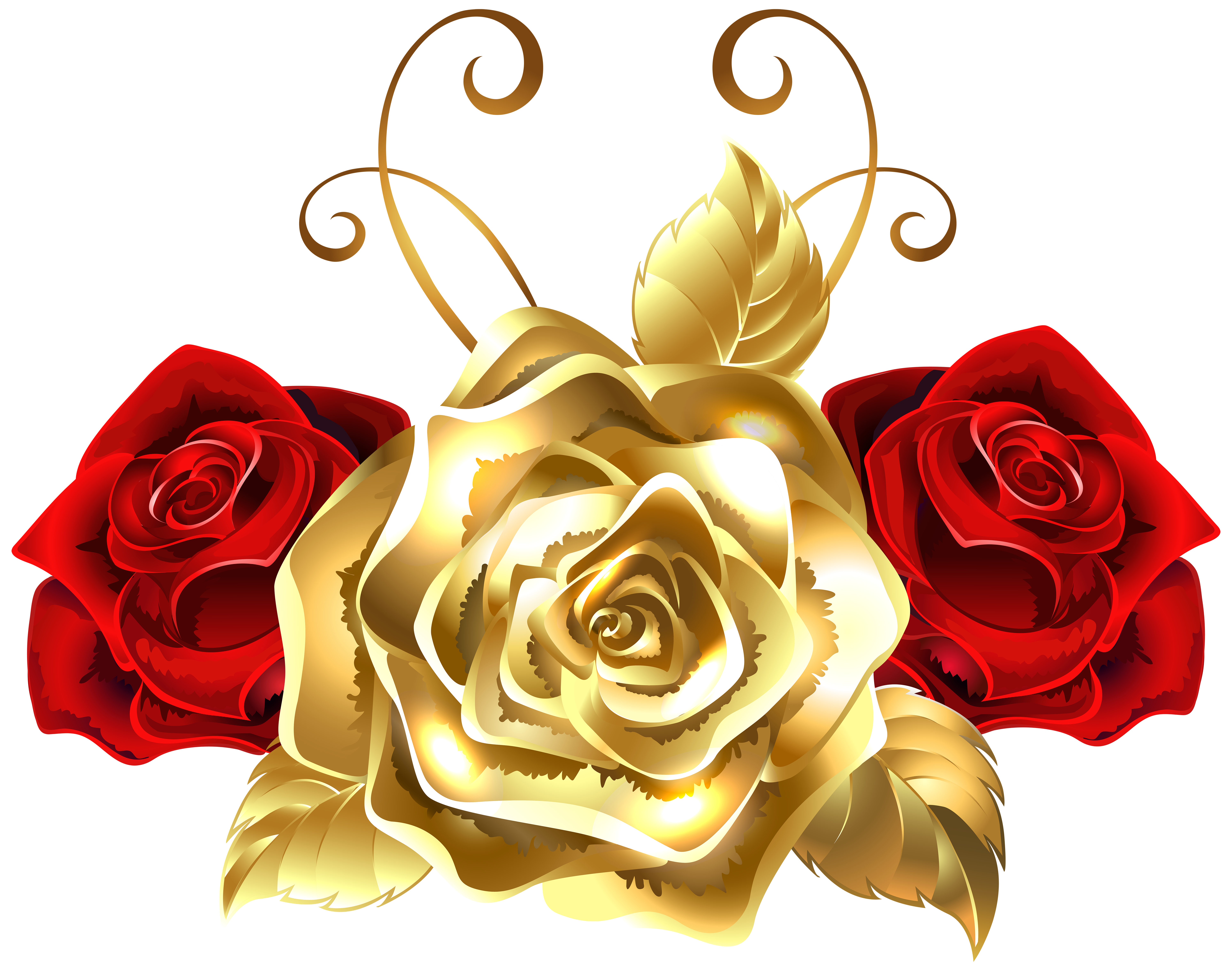Gold and Red Roses PNG Clip Art Image.