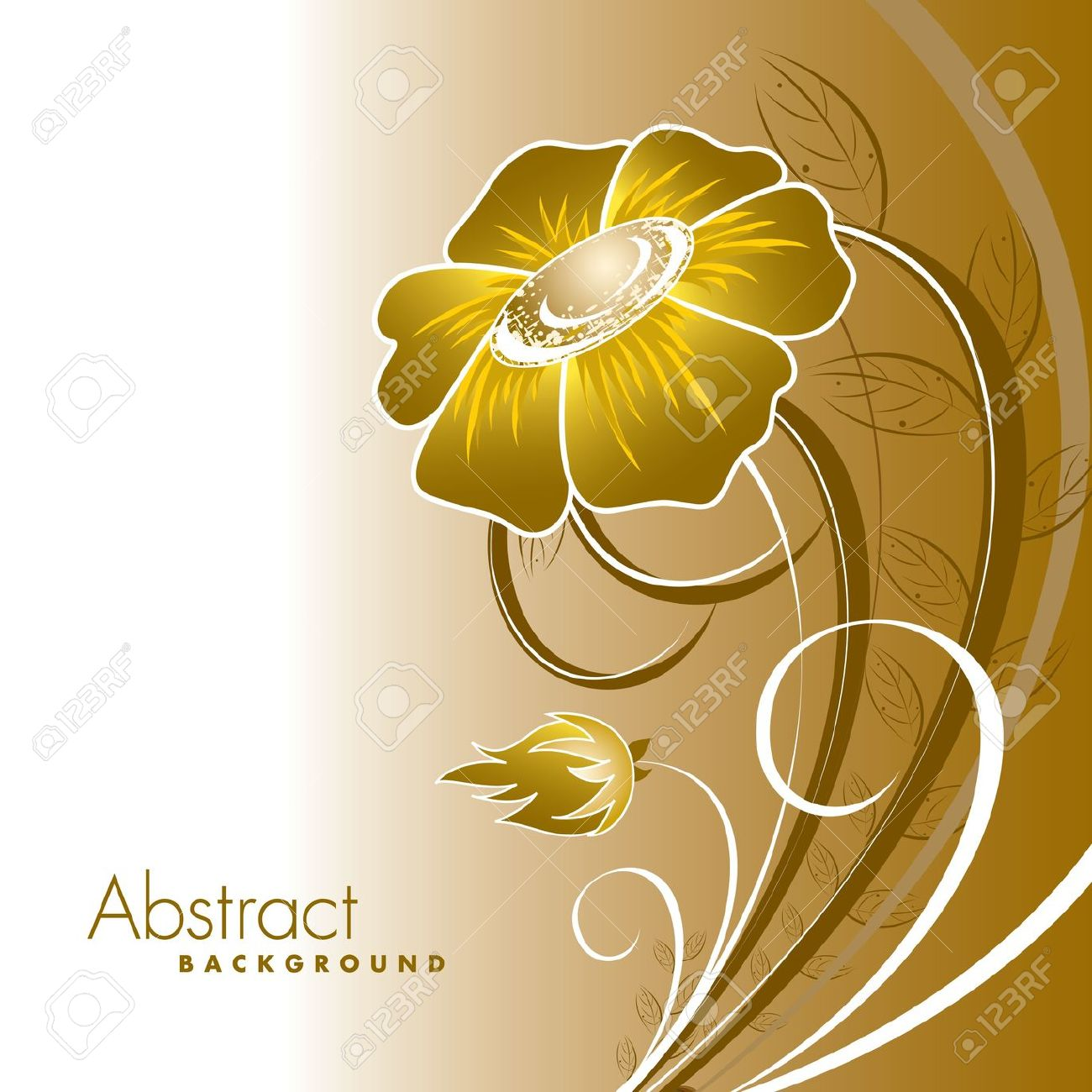 Gold yellow flowers clipart #14