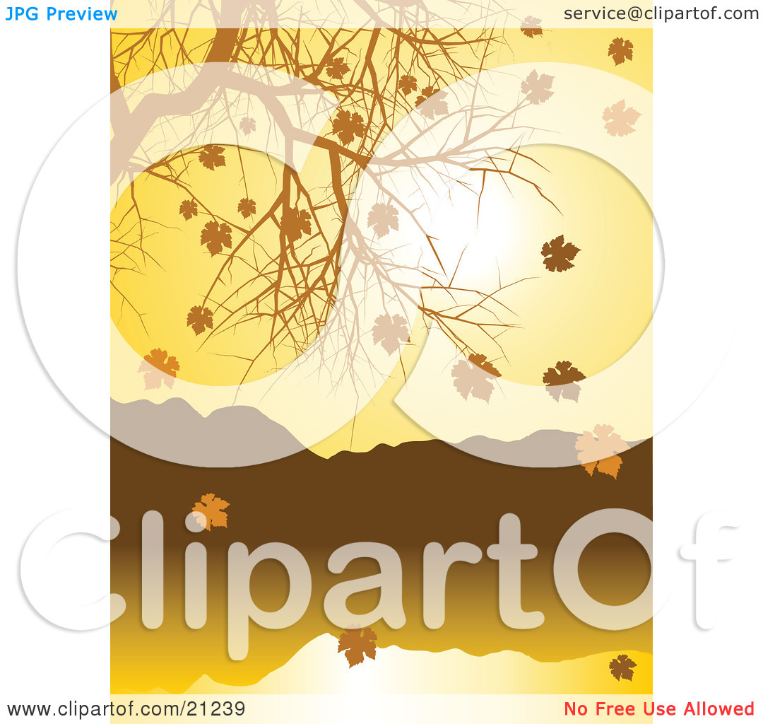 Clipart Illustration of a Nature Background Of Golden Autumn Leave.