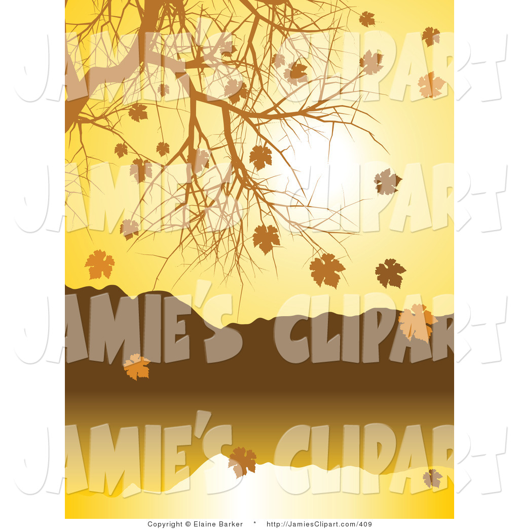 Clip Art of a Seasonal Nature Background of Golden Autumn Leave.