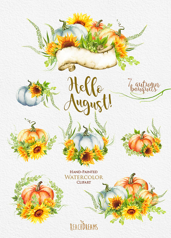 Pumpkin & Sunflower Watercolor clipart Golden by ReachDreams.