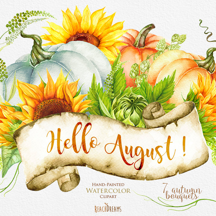 Pumpkin & Sunflower Watercolor clipart Golden Autumn.