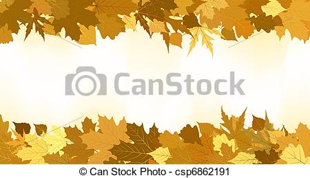 Vector Clip Art of Golden autumn border made from leaves. EPS 8.