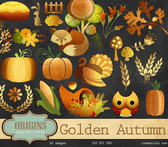 Golden Autumn Woodland Clipart Fall Forest Clip art Gold.