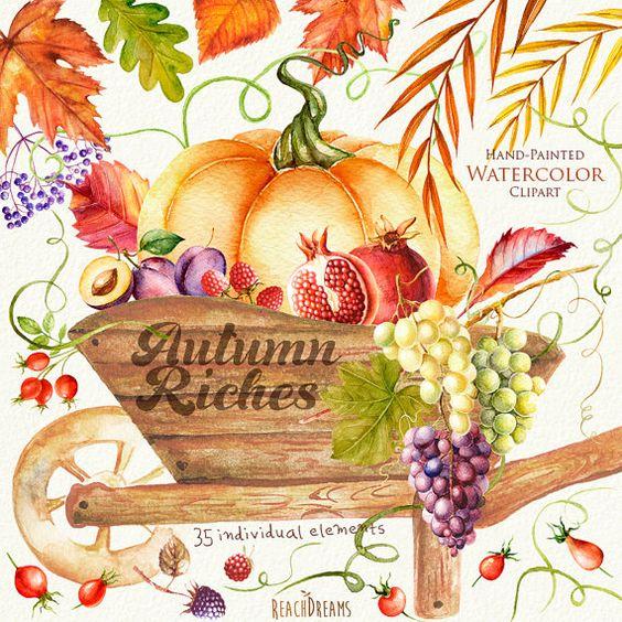 Autumn Harvest Watercolor clipart. Fall, Halloween, Pumpkin.