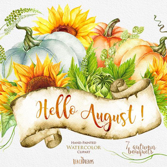 Pumpkin & Sunflower Watercolor clipart Golden Autumn.