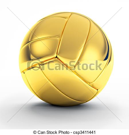 Clipart of golden volley ball.