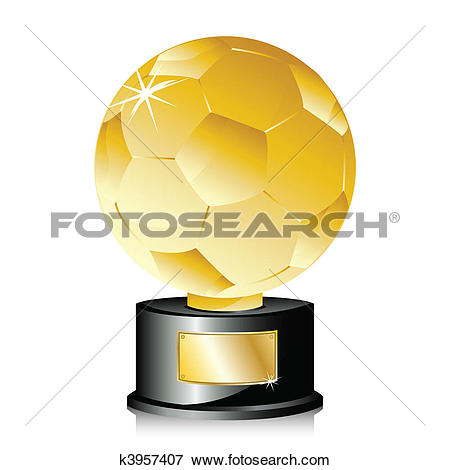 Clip Art of Golden Ball Soccer Trophy Champion. k3957407.