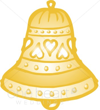 Golden Wedding Bells Clipart.