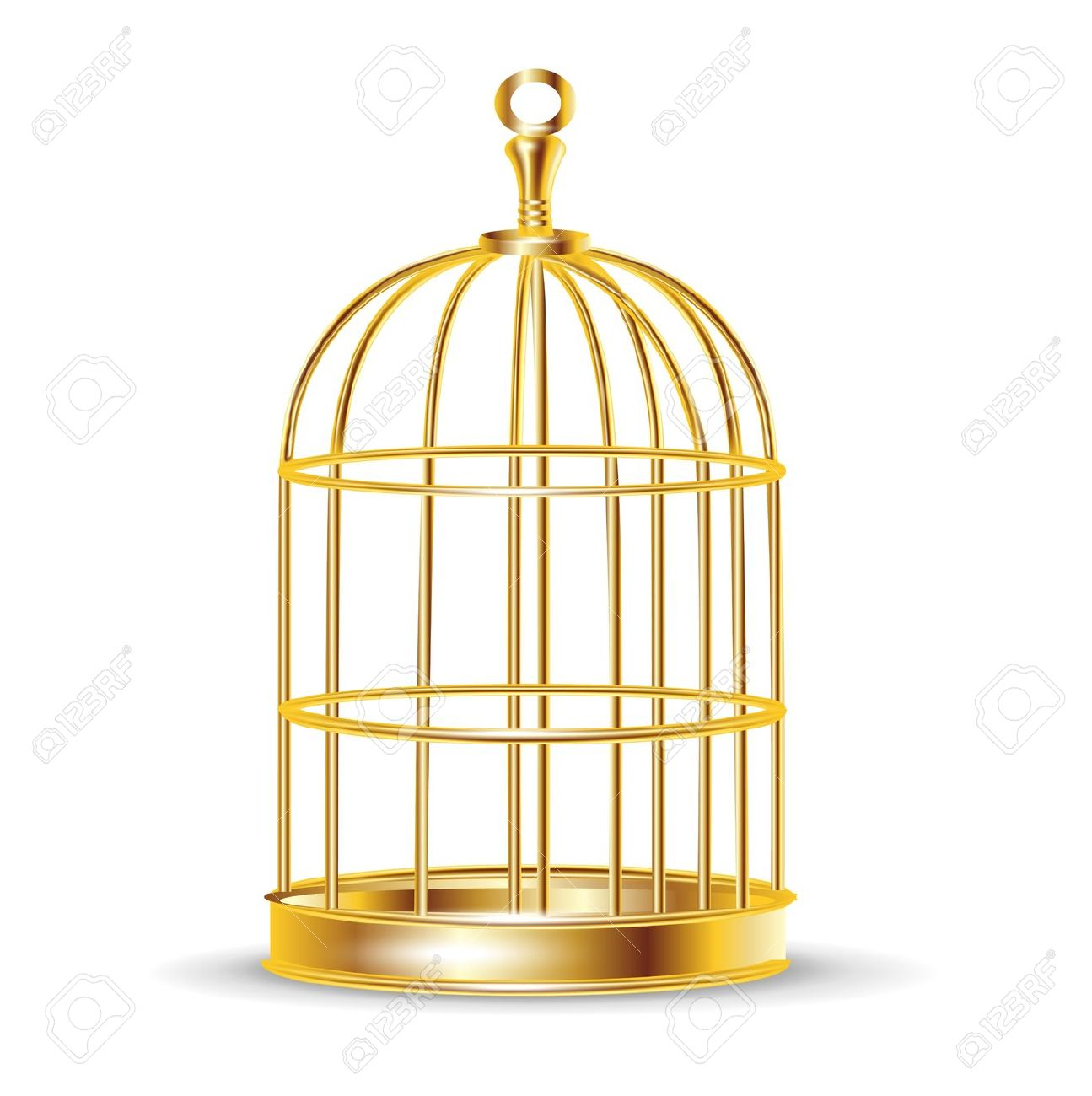 Golden Bird Cage Isolated On White Royalty Free Cliparts, Vectors.