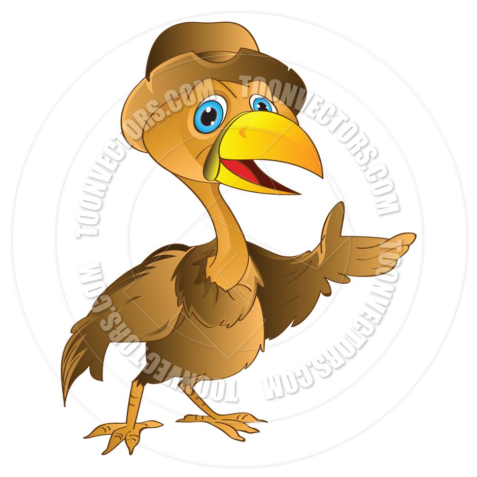 Cartoon Golden Bird with a Hat by Morphart.