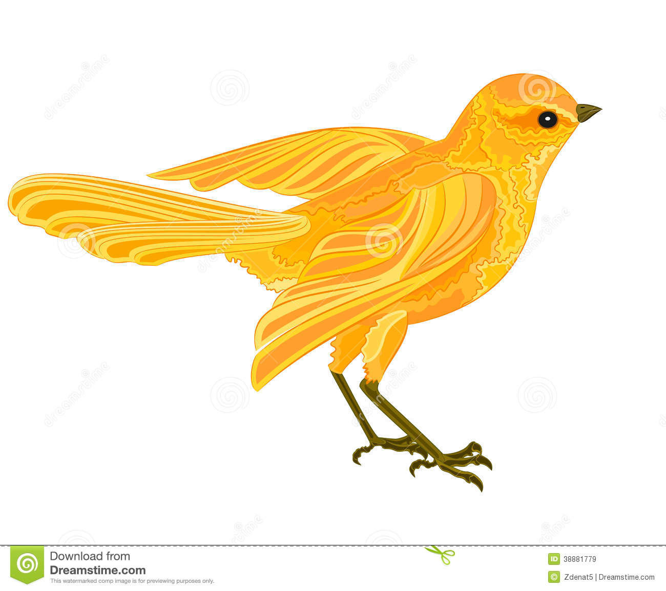 Bird Gold. Bird Soars With Yellow And Black Feathers On A Yellow.