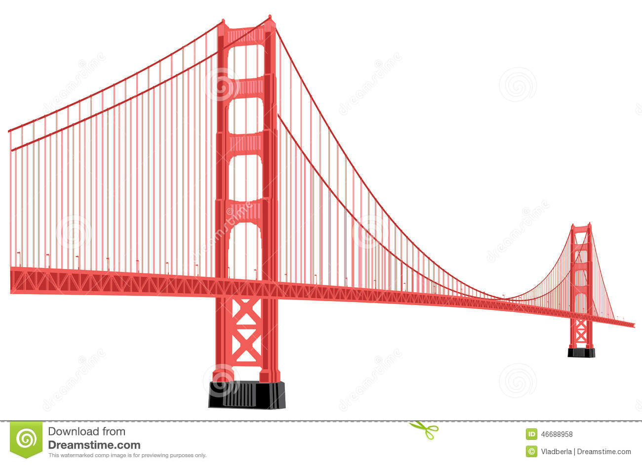 Golden gate bridge drawing clip art.