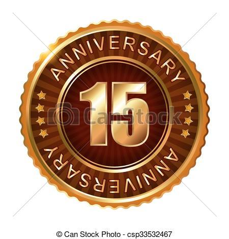 Clip Art Vector of 15 years anniversary golden brown label. Vector.