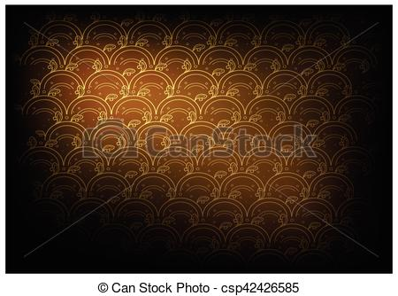 Vector of Golden Brown Thai Vintage Wallpaper Background with Wave.