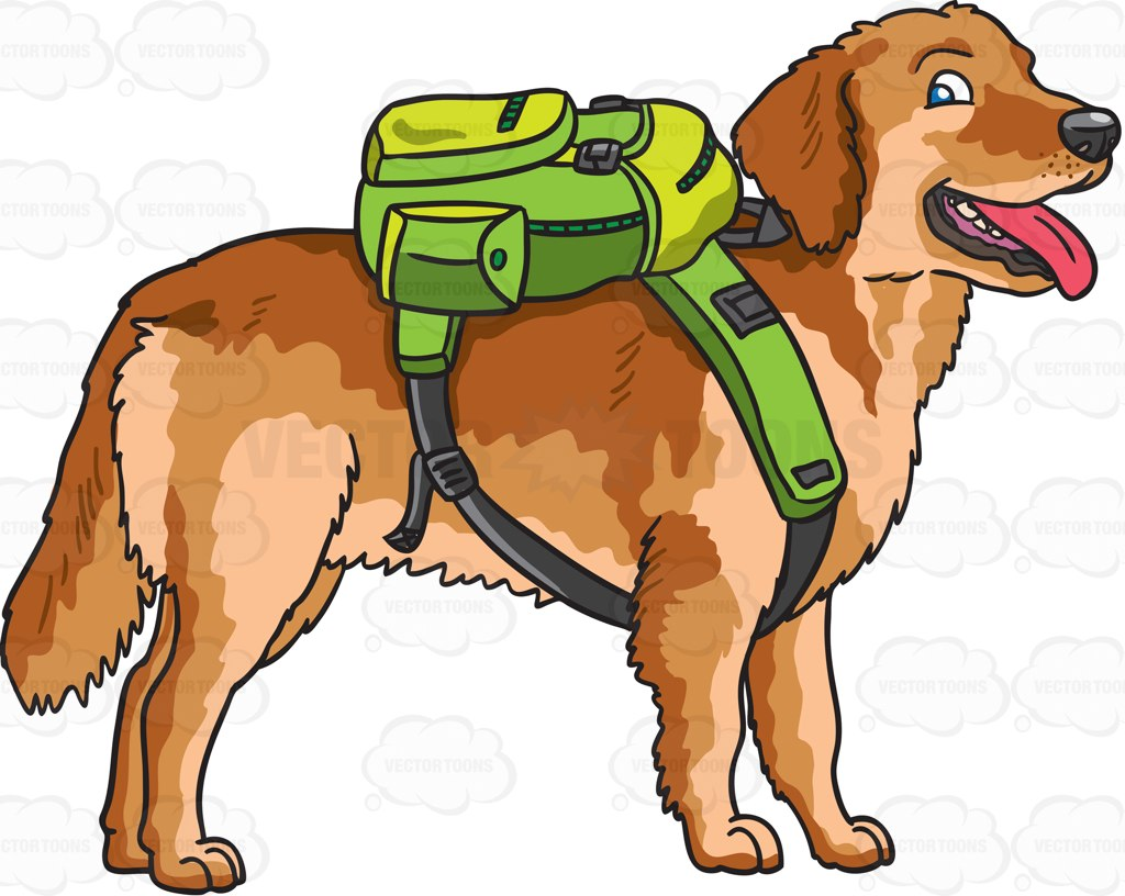A Golden Brown Dog With A Backpack Cartoon Clipart.