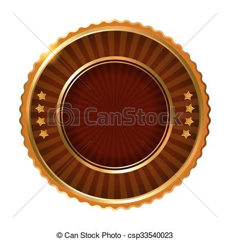 Vector Illustration of Empty golden brown label. Vector.