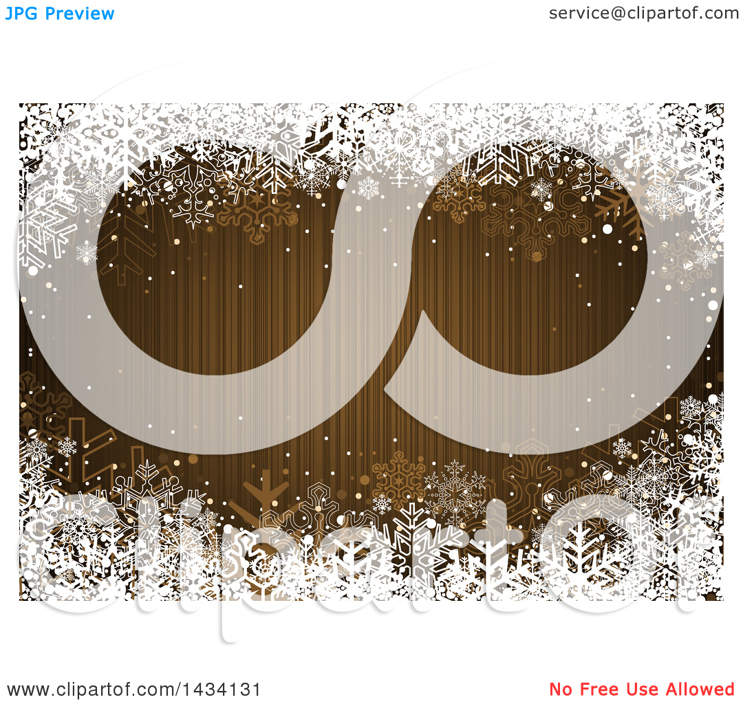 Clipart of a Golden Brown Striped Christmas Background with a.
