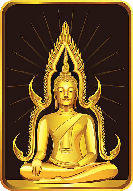 Temple Of The Golden Buddha Clip Art, Vector Images.