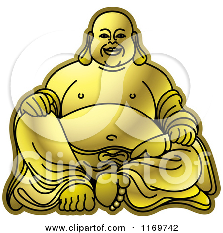 Clipart of a Gold Buddha Face.