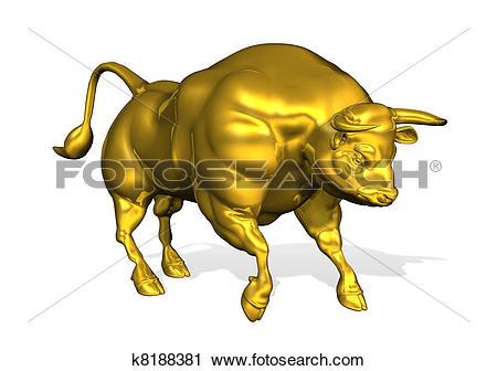 Clipart of Golden Bull k8188381.